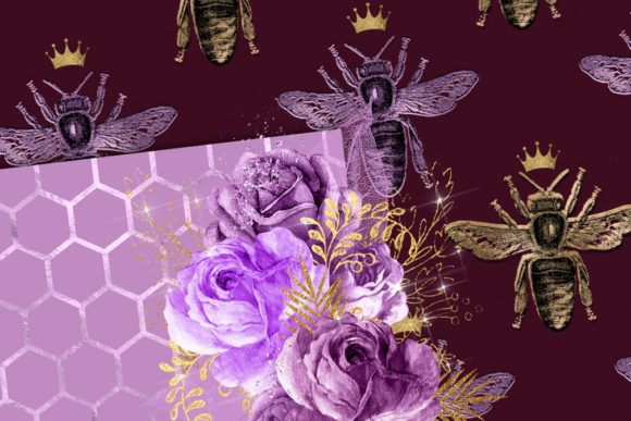 Queen Bee Digital Paper Graphic Download