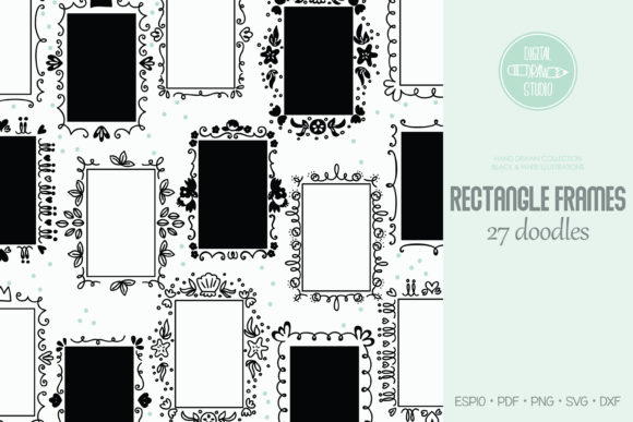Rectangle Frame | Oblong Border | Wreath Graphic Illustrations By Digital_Draw_Studio