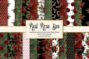 Print on Demand: Red Rose Bee Digital Paper Graphic Backgrounds By Digital Curio