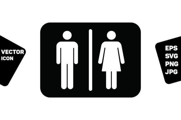 Print on Demand: Restroom Sign Vector with Man and Woman Graphic Icons By TukTuk Design