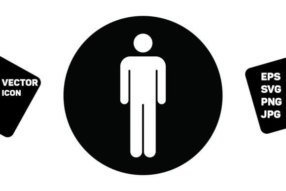 Print on Demand: Restroom Sign Vector with Man Symbol Graphic Icons By TukTuk Design