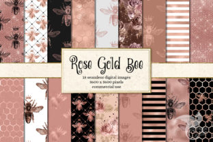 Print on Demand: Rose Gold Bee Digital Paper Graphic Backgrounds By Digital Curio 1