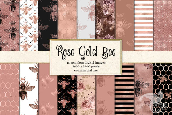 Rose Gold Bee Digital Paper Graphic