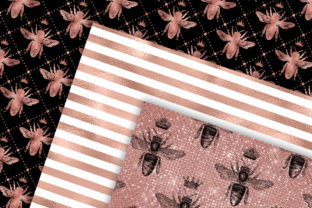 Print on Demand: Rose Gold Bee Digital Paper Graphic Backgrounds By Digital Curio 2