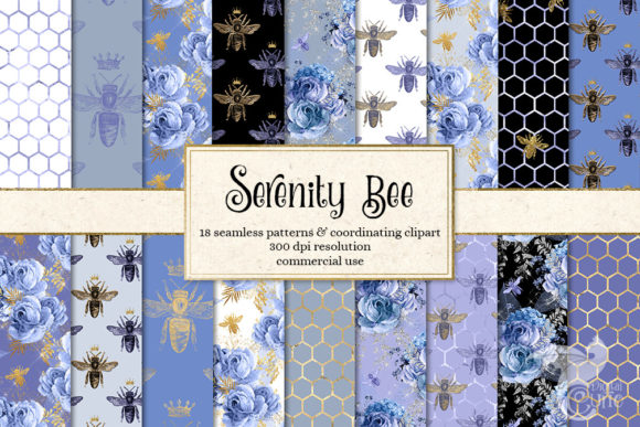 Print on Demand: Serenity Bee Digital Paper Graphic Backgrounds By Digital Curio
