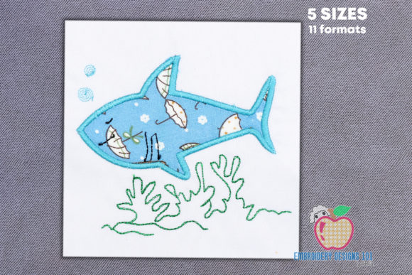 Shark Under Water Applique Fish & Shells Embroidery Design By embroiderydesigns101