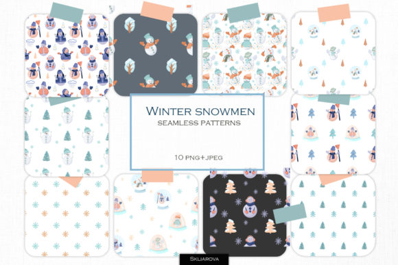 Snowman 10 Seamless Patterns Graphic Patterns By HappyWatercolorShop