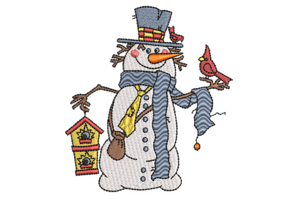 Snowman with Cardinal Birdy Embroidery
