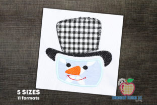 Snowman with Hat Applique Design Winter Embroidery Design By embroiderydesigns101