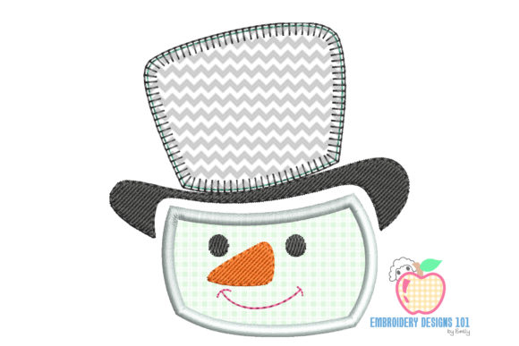 Snowman with Hat Applique Design Embroidery Download
