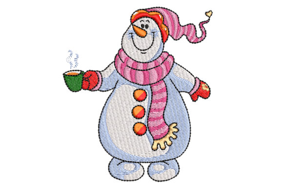 Snowman with Hot Chocolate Christmas Stickdesign von BabyNucci Embroidery Designs