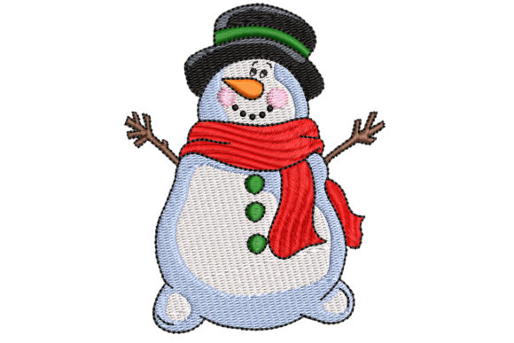 Snowman with Red Scarf Christmas Embroidery Design By BabyNucci Embroidery Designs