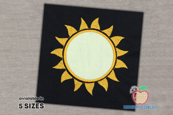 Sun Sunshine Applique Design Summer Embroidery Design By embroiderydesigns101