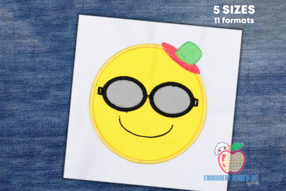 Sun with Sunglasses Emoji Applique Summer Embroidery Design By embroiderydesigns101