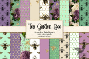 Print on Demand: Tea Garden Bee Digital Paper Graphic Backgrounds By Digital Curio