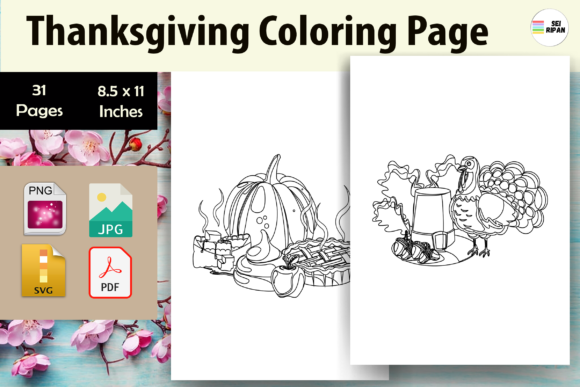 Thanksgiving Coloring Page for Kids-KDP Graphic