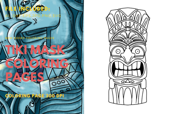 Print on Demand: Tiki Mask Art Coloring Page Element Graphic Coloring Pages & Books By stanosh