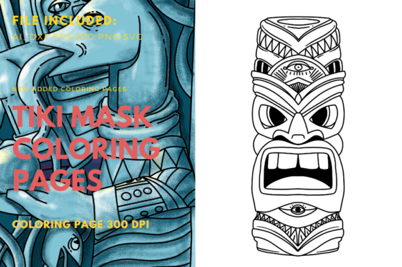 Print on Demand: Tiki Mask Coloring Book Element Graphic Print Templates By stanosh