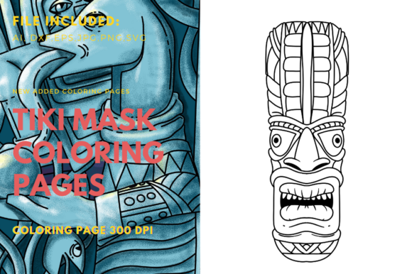 Print on Demand: Tiki Mask Face Coloring Book Graphic Coloring Pages & Books By stanosh