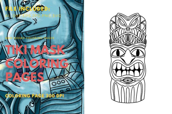 Print on Demand: Tiki Mask for Coloring Page Graphic Coloring Pages & Books By stanosh