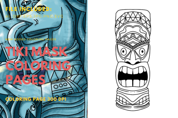 Print on Demand: Tiki Polynesian Mask Coloring Book Graphic Print Templates By stanosh