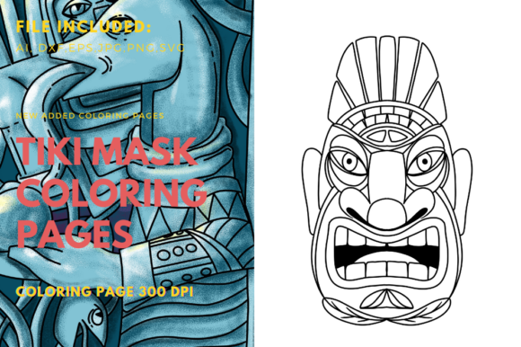 Print on Demand: Tiki Polynesian Warriors Coloring Book Graphic Coloring Pages & Books Kids By stanosh