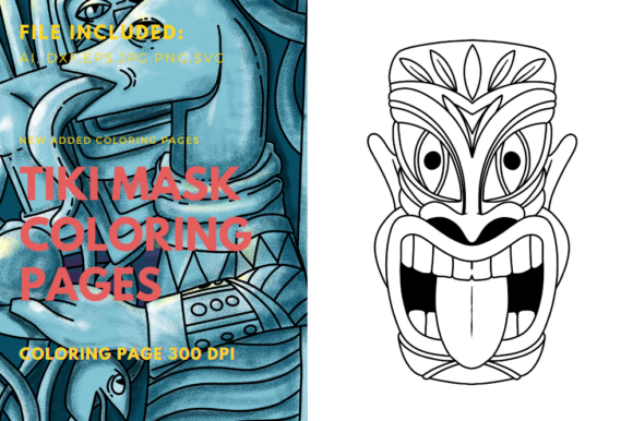 Print on Demand: Tiki Warriors Mask Coloring Page Graphic Print Templates By stanosh