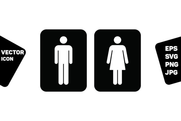 Print on Demand: Toilet Sign Vector with Man and Woman Graphic Icons By TukTuk Design