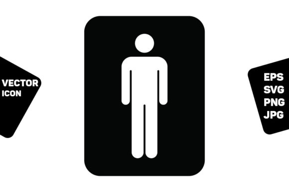 Print on Demand: Toilet Sign Vector with Man Symbol Icon Graphic Icons By TukTuk Design