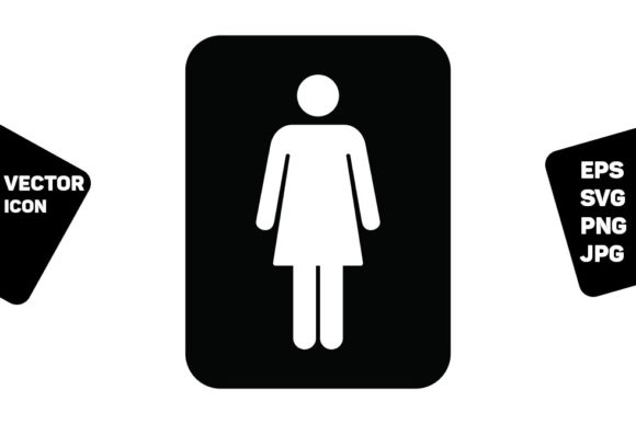 Print on Demand: Toilet Sign Vector with Woman Symbol Graphic Icons By TukTuk Design