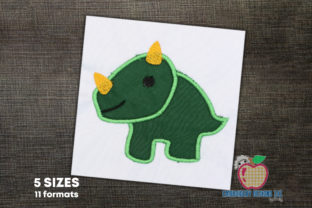 Triceratops Dinosaur Applique Design Dinosaurs Embroidery Design By embroiderydesigns101