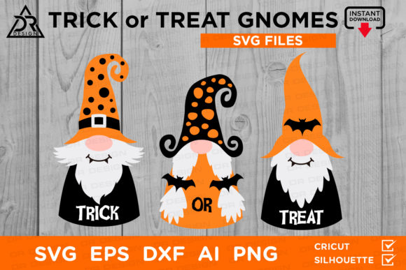 Print on Demand: Trick or Treat Gnomes SVG Graphic Crafts By davidrockdesign