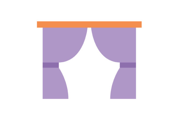 Print on Demand: Twin Curtains Fill Livingroom Icon Graphic Icons By meandmydate
