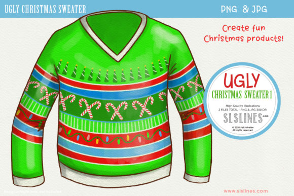 Ugly Christmas Sweater 1 PNG Clipart Graphic Illustrations By SLS Lines