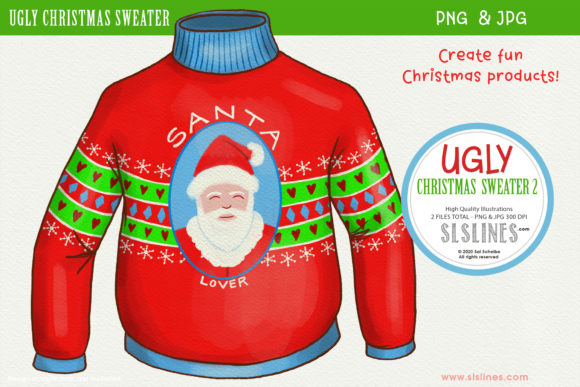Ugly Christmas Sweater 2 PNG Clipart Graphic Illustrations By SLS Lines
