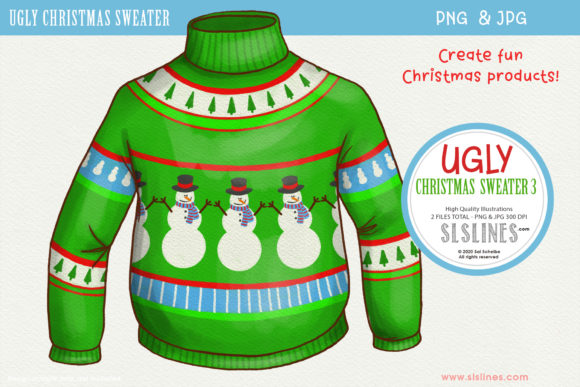 Ugly Christmas Sweater 3 PNG Clipart Graphic Illustrations By SLS Lines