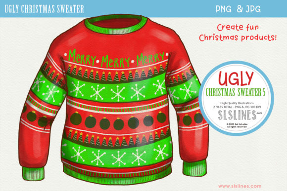 Print on Demand: Ugly Christmas Sweater 5 PNG Clipart Graphic Illustrations By SLS Lines