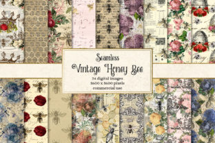 Print on Demand: Vintage Honey Bee Digital Paper Graphic Backgrounds By Digital Curio