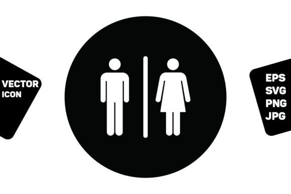 Print on Demand: Washroom Sign Vector with Man and Woman Graphic Icons By TukTuk Design