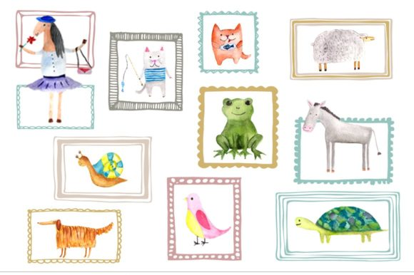 Watercolor Animal Buddies Clipart Graphic Illustrations By tatibordiu