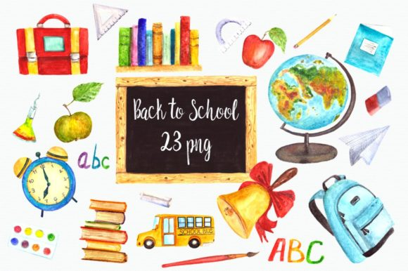 Watercolor Back to School Clip Art Graphic Illustrations By tatibordiu