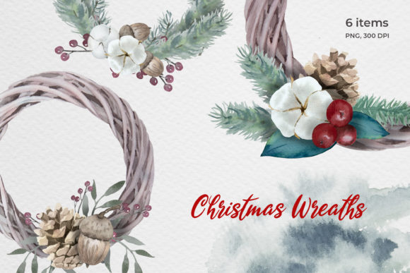 Watercolor Christmas Wreaths Graphic Illustrations By pavlova.j91