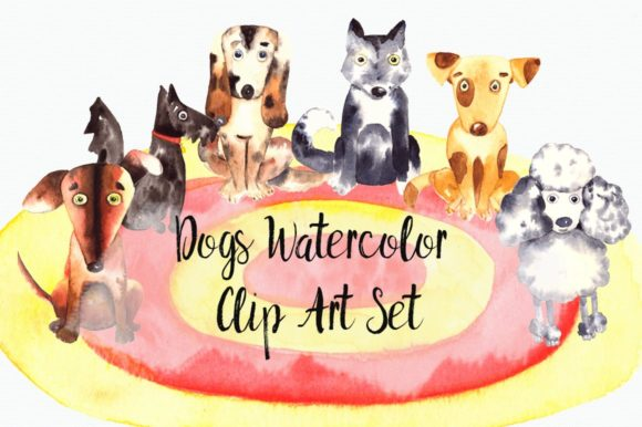 Watercolor Dogs Clip Art Set Graphic Illustrations By tatibordiu