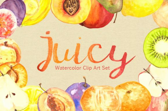 Watercolor Juicy Fruit Clip Art Set Graphic Illustrations By tatibordiu
