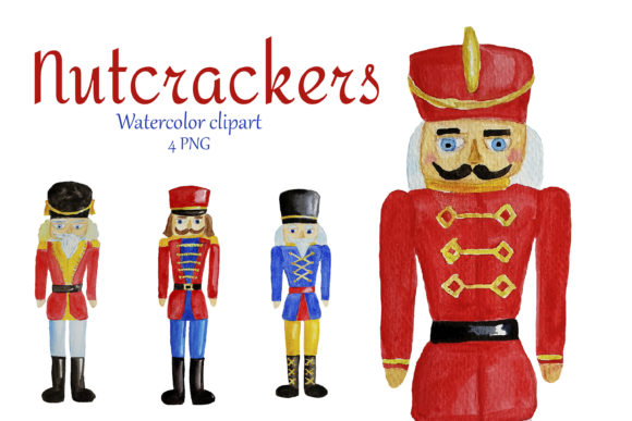 Print on Demand: Watercolor Nutcracker Clipart. Christmas Graphic Illustrations By s.yanyeva