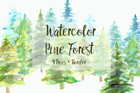Watercolor Pine Trees Clip Art Set Graphic Illustrations By tatibordiu
