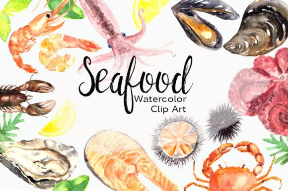 Watercolor Seafood Clip Art Set Graphic Illustrations By tatibordiu