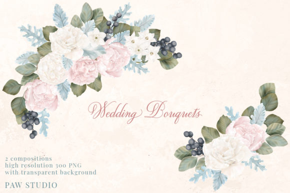 Print on Demand: Wedding Floral Frame Peony Rose Bouquet Graphic Illustrations By PawStudio