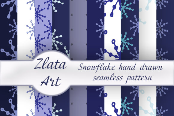 Print on Demand: Winter Digital Paper Bag with Snowflakes Graphic Patterns By ElenaZlataArt