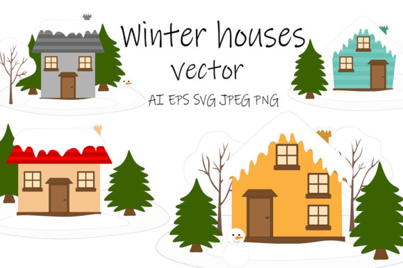 Winter Houses Vector. Winter Houses Graphic Illustrations By shishkovaiv